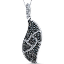 Elegant Wave Black And White Cz Sterling Silver Pendant With 18 Inch Necklace Style SP10724