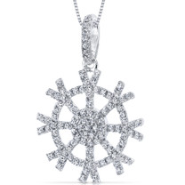 Snowflake Design Machine Cut White Cz Sterling Silver Pendant With 18 Inch Necklace Style SP10734