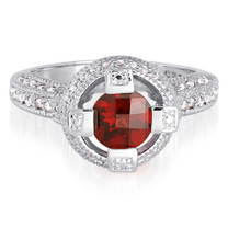 Exclusive 1.25 Carats Round Shape Garnet & White CZ Size 8 Ring in Sterling Silver Style SR9166