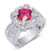 Breathtaking 2.00carats Cushion Cut Ruby & White CZ Size 6 Ring in Sterling Silver Style SR9342