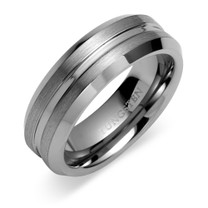 Beveled Edge Brushed Finish 7mm Comfort Fit Mens Tungsten Carbide Ring Size 8 Style SR9416