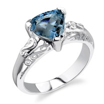 2.00 carats Trillion Cut London Blue Topaz Sterling Silver Ring in Sizes 5 to 9 Style SR2058