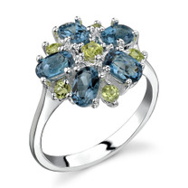 Flower Design 3.25 carats London Blue Topaz Peridot Sterling Silver Ring in Sizes 5 to 9 Style SR3412