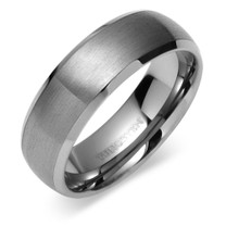 Beveled Edge Brush Finish 8mm Comfort Fit Mens Tungsten Carbide Ring Sizes 8 to 13 Style SR9384