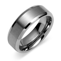 Beveled Edge Center Brushed Finish 8mm Mens Tungsten Ring Sizes 8 to 13 Style SR9404