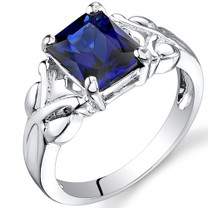 3.00 carats Radiant Cut Sapphire Sterling Silver Ring in Sizes 5 to 9 Style SR9626