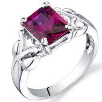 3.00 carats Radiant Cut Ruby Sterling Silver Ring in Sizes 5 to 9 Style SR9628