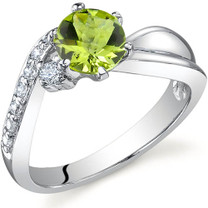 Ethereal Curves 0.75 carats Peridot Sterling Silver Ring in Sizes 5 to 9 Style SR9686