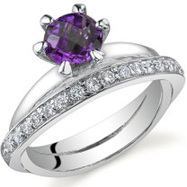 Classy Oblique Double-Band 0.75 carats Amethyst Sterling Silver Ring in Sizes 5 to 9 Style SR9694
