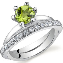 Classy Oblique Double-Band 0.75 carats Peridot Sterling Silver Ring in Sizes 5 to 9 Style SR9698