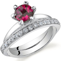 Classy Oblique Double-Band 1.00 carats Ruby Sterling Silver Ring in Sizes 5 to 9 Style SR9702