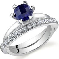 Classy Oblique Double-Band 1.25 carats Sapphire Sterling Silver Ring in Sizes 5 to 9 Style SR9704