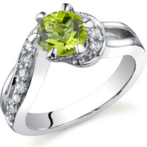 Majestic Wave 0.75 carats Peridot Sterling Silver Ring in Sizes 5 to 9 Style SR9710