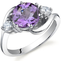 3 Stone Design 1.75 carats Amethyst Sterling Silver Ring in Sizes 5 to 9 Style SR9718