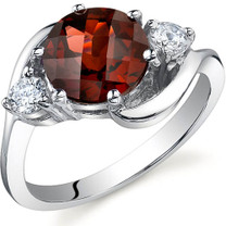 3 Stone Design 2.25 carats Garnet Sterling Silver Ring in Sizes 5 to 9 Style SR9720