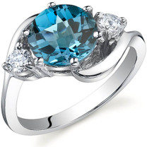 3 Stone Design 2.25 carats London Blue Topaz Sterling Silver Ring in Sizes 5 to 9 Style SR9722