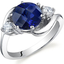 3 Stone Design 2.75 carats Sapphire Sterling Silver Ring in Sizes 5 to 9 Style SR9726