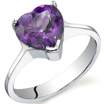 Cupids Heart 1.75 carats Amethyst Sterling Silver Ring in Sizes 5 to 9 Style SR9728