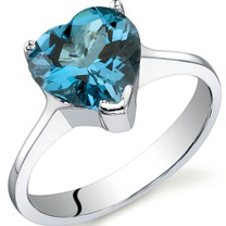 Cupids Heart 2.25 carats London Blue Topaz Sterling Silver Ring in Sizes 5 to 9 Style SR9732