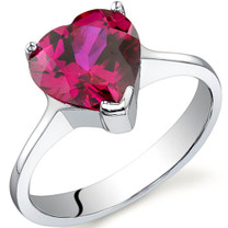 Cupids Heart 1.75 carats Ruby Sterling Silver Ring in Sizes 5 to 9 Style SR9734