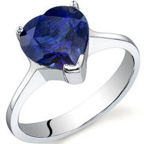 Cupids Heart 2.75 carats Sapphire Sterling Silver Ring in Sizes 5 to 9 Style SR9736