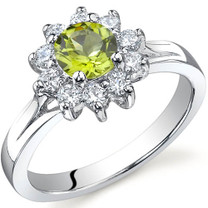 Ornate Floral 0.50 carats Peridot Sterling Silver Ring in Sizes 5 to 9 Style SR9742