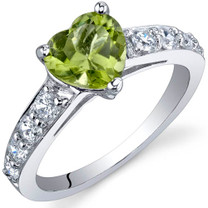 Dazzling Love 1.25 Carats Peridot Sterling Silver Ring in Sizes 5 to 9 Style SR9814