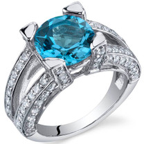 Boldly Glamorous 3.00 Carats Swiss Blue Topaz in Sterling Silver Size 5 to 9 Style SR9828