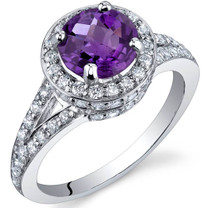 Majestic Sensation 1.25 Carats Amethyst Sterling Silver Ring in Sizes 5 to 9 Style SR9868