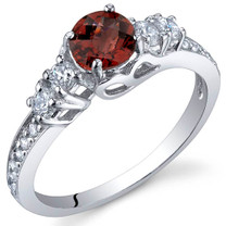 Enchanting 0.50 Carats Garnet Sterling Silver Ring in Sizes 5 to 9 Style SR9902