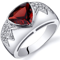 Glam Trillion Cut 2.00 Carats Garnet Cubic Zirconia Sterling Silver Ring in Size 5 to 9 Style SR9918