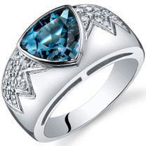 Glam Trillion Cut 2.00 Carats London Blue Topaz Sterling Silver Ring in Size 5 to 9 Style SR9922