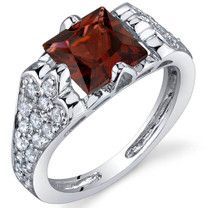 Elegant Opulence 2.00 Carats Garnet Sterling Silver Ring in Sizes 5 to 9 Style SR9964