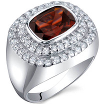 Extravagant Sparkle 2.50 Carats Garnet Sterling Silver Ring in Sizes 5 to 9 Style SR9990