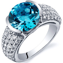 Bezel Set Large 4.00 Carats Swiss Blue Topaz Sterling Silver Ring in Sizes 5 to 9 Style SR10004