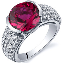 Bezel Set Large 5.00 Carats Ruby Sterling Silver Ring in Sizes 5 to 9 Style SR10008