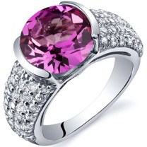 Bezel Set Large 5.00 Carats Pink Sapphire Sterling Silver Ring in Sizes 5 to 9 Style SR10010