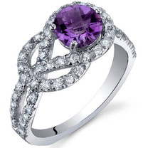 Gracefully Exquisite 0.75 Carats Amethyst Sterling Silver Ring in Sizes 5 to 9 Style SR10026