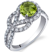 Gracefully Exquisite 0.75 Carats Peridot Sterling Silver Ring in Sizes 5 to 9 Style SR10030
