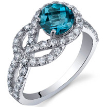 Gracefully Exquisite 1.00 Carats London Blue Topaz Sterling Silver Ring in Sizes 5 to 9 Style SR10034