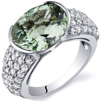 Opulent Sophistication 6.75 Carats Green Amethyst Sterling Silver Ring in Size 5 to 9 Style SR10080