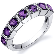 7 Stone 1.75 Carats Amethyst Band Sterling Silver Ring in Sizes 5 to 9 Style SR10084