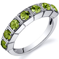 7 Stone 1.75 Carats Peridot Band Sterling Silver Ring in Sizes 5 to 9 Style SR10088