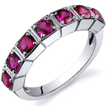 7 Stone 1.75 Carats Ruby Band Sterling Silver Ring in Sizes 5 to 9 Style SR10092