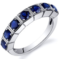 7 Stone 1.75 Carats Blue Sapphire Band Sterling Silver Ring in Sizes 5 to 9 Style SR10094