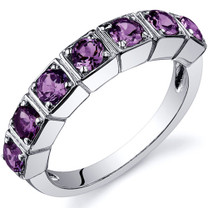 7 Stone 1.75 Carats Alexandrite Band Sterling Silver Ring in Sizes 5 to 9 Style SR10098