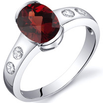 Elegant 1.50 carats Garnet Half Bezel Solitaire Sterling Silver Ring in Sizes 5 to 9 Style SR10104