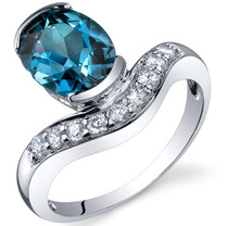 Channel Set 2.00 carats London Blue Topaz Diamond CZ Sterling Silver Ring in Size 5 to 9 Style SR10128