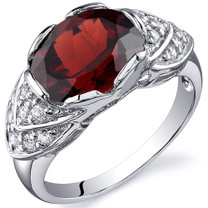 Classy Brilliance 3.25 carats Garnet Cocktail Sterling Silver Ring in Sizes 5 to 9 Style SR10140