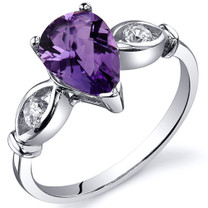 3 Stone 1.00 carats Amethyst Sterling Silver Ring in Sizes 5 to 9 Style SR10154